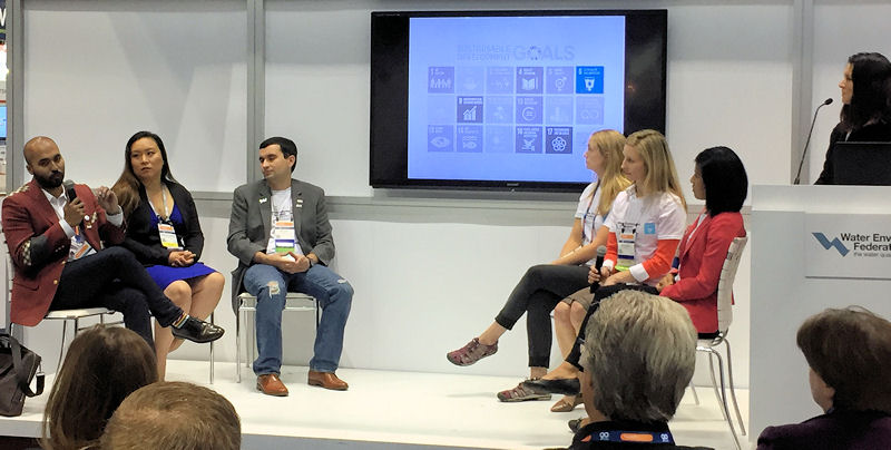 Young professionals who participated in UNLEASH discussed the experience during WEFTEC 2017. These water professionals were, from left, panelists Raad Seraj, Yoo Schneider, Shell, Rozek, Walsh, Borkowski, and moderator Butcher. Photo courtesy of Brittany Burch, Isle Utilities (London).