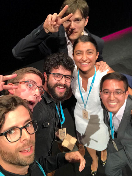 Fidan Karimova (second from right) took a selfie with American actor Ashton Kutcher (third from right) and the rest of her project team after winning the Most Visionary Solution award. Photo courtesy of Karimova.