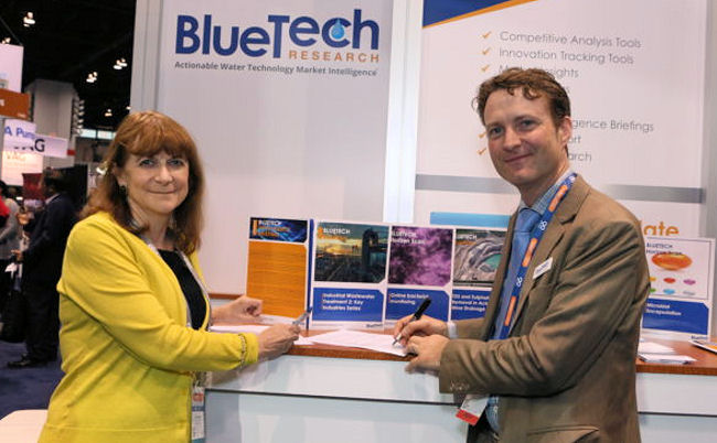 From left, Eileen O'Neill, Water Environment Federation (WEF; Alexandria, Va.) executive director, and Paul O'Callaghan, chief executive of BlueTech Research (Cork, Ireland) sign a Memorandum of Understanding to enhance collaboration. WEF photo.