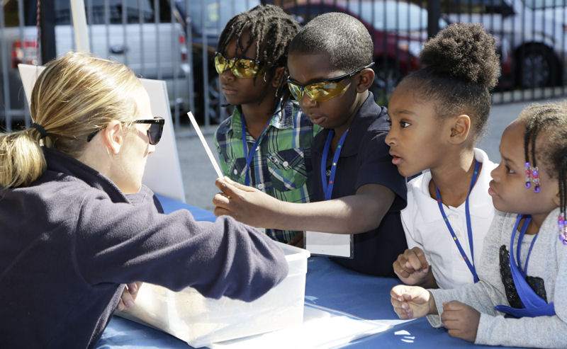 Students learned about such topics as the water cycle, wastewater treatment systems, stormwater, and water pollution. Photo courtesy of Oscar & Associates.