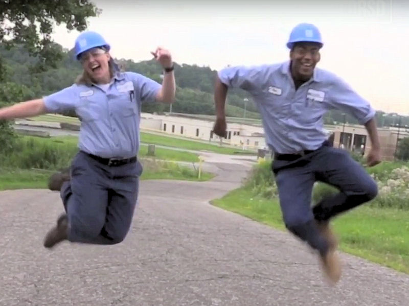 Wood (left) and many of her coworkers, including another operator, Ryan Melton (right), are featured in the music video. Photo courtesy of Northeast Ohio Regional Sewer District.