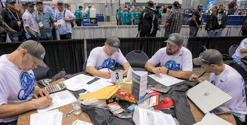 West (fifth from left) watches over his team, Elevated Ops, as they compete in the Process Control Event at WEFTEC 2017. Photo courtesy of Kieffer Photography.
