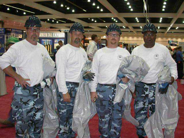 At WEFTEC 2003 in Los Angeles, West (third from left) competed on the Water Environment Association of Texas team, Dillo XXpress. Other team member, from left, included David Barker, David Barber, and Ellery Studivant. Photo courtesy of West.