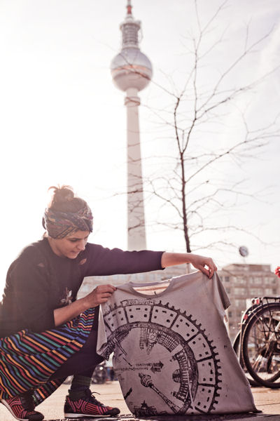 Emma–France Raff, a Berlin textile designer, uses patterns found on manhole covers and other urban surfaces to make art. Photo courtesy of Orpheas Tziagidis, Raubdruckerin.