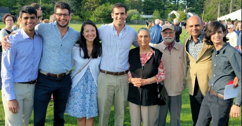 Balbir Sandhu (third from right) was the first in his family to study engineering. He stands with family members, from left, Micah Sandhu, Dillon Sandhu, Mercedes Cardenas, Jonathan Sandhu, Kulwant Sandhu, Gopi Sandhu, and Ethan Sandhu. Balbir's son Gopi and grandson Jonathan are engineers as well. Photo courtesy of Mary Kay Sandhu.
