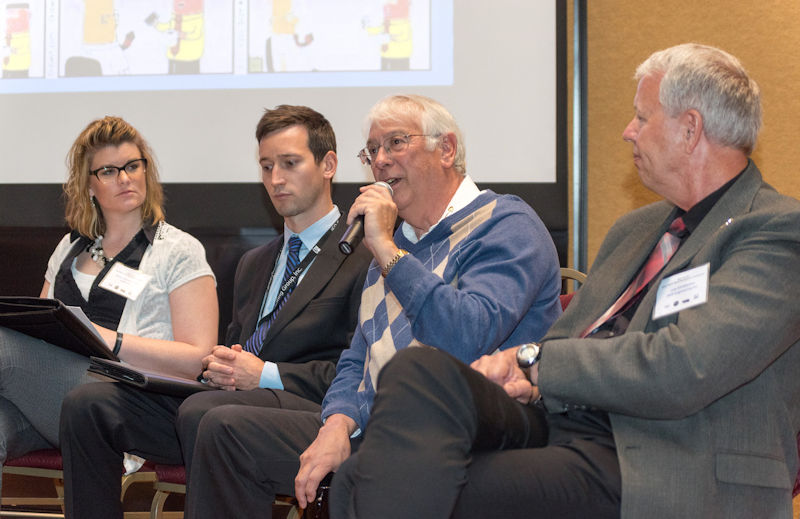 Condon speaks about the generational gap in engineering firms during a question and answer session at a Nebraska Water Environment Association (WEA) conference. Photo courtesy of Kottwitz.