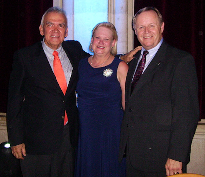 Dautant (left) takes a photo Dale Jacobson (right), WEF president from 1997 to 1998, and Dale's wife Debora (middle) during the 2008 International Water Association (London) World Water Congress in Austria. Photo courtesy of Dautant.