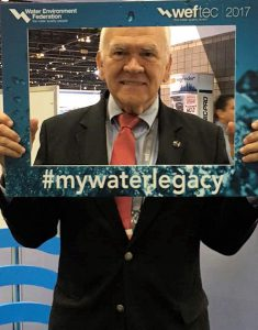 During WEFTEC 2017, Rafael A. Dautant celebrated his 39th appearance at the event by taking a #MyWaterLegacy photo. Water Environment Federation (WEF; Alexandria, Va.) photo/Camille Sanders.