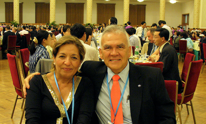 Dautant (right) and his wife attend the 2006 IWA World Water Congress in Beijing. Photo courtesy of Dautant.