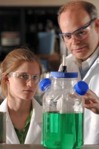 From right, Zitomer conducts research in the laboratory with former Marquette University student Anne Schauer, who is co-founder of Mango Materials (San Francisco). Photo courtesy of Marquette University.