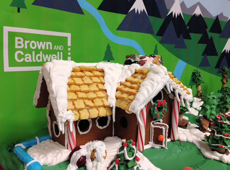 In December 2016, Porter put his pastry-chef skills to use by turning wastewater into holiday-themed art. Photo courtesy of Brown and Caldwell.