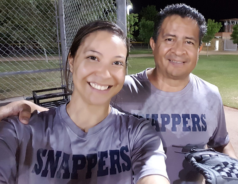 Rey and Jessica have competed on the City of Dallas co-ed softball team, the Snappers. The pair celebrate the team earning a spot in the finals in 2016. Photo courtesy of Jessica.