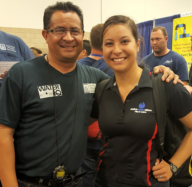 Rey Davila and his daughter Jessica attend the Water Environment Association of Texas conference, Texas Water 2016. The pair celebrate after learning both of their Dallas Water Utility teams were going to the respective national competitions: Operations Challenge and Pipe Tapping. Photo courtesy of Jessica Davila.