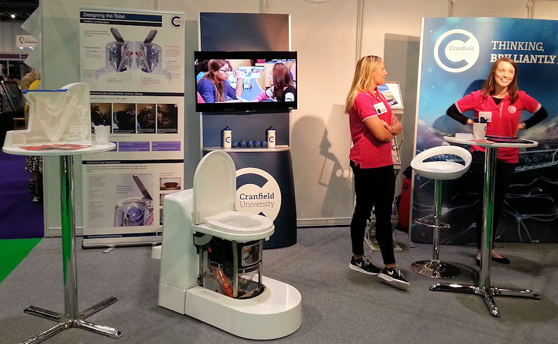 Cranfield (England) University scientists display a prototype of the nano membrane toilet at the 2016 New Scientist Live event. Photo courtesy of Alison Parker, Cranfield (England) University Water Science Institute.