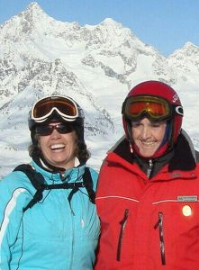 From left, Patty and her late father Don Chesebrough climb the Alps in Zermatt, Switzerland, to celebrate Don's 80th birthday in 2010. She attributes her water stewardship to Don. Photo courtesy of Patty Chesebrough.