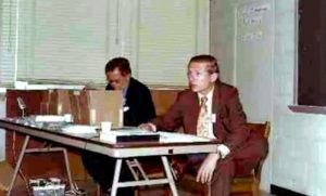 Roy Herwig (right) participates in a U.S. Environmental Protection Agency meeting in the late 1970s. Photo courtesy of Liz Herwig.