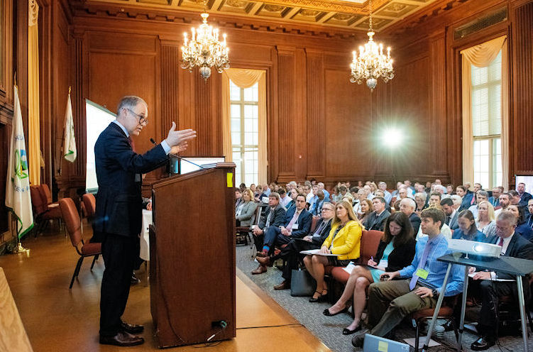 U.S. Environmental Protection Agency (EPA) Administrator Scott Pruitt presents the agency's steps to address Per- and Polyfluoroalkyl Substances during the National Leadership Summit. Photo courtesy of EPA.