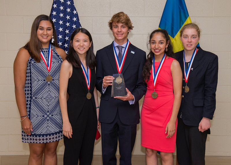 The winners of the U.S. Stockholm Junior Water Prize were, from left, Bjorn von Euler Innovation in Water award winner Madeline Kane, runner-up Michelle Xing, winner Braden Milford, runner-up Anjali Chadha, James L. Condon Recognition for Environmental Stewardship Helen Laird. Photo courtesy of AOB Photo.
