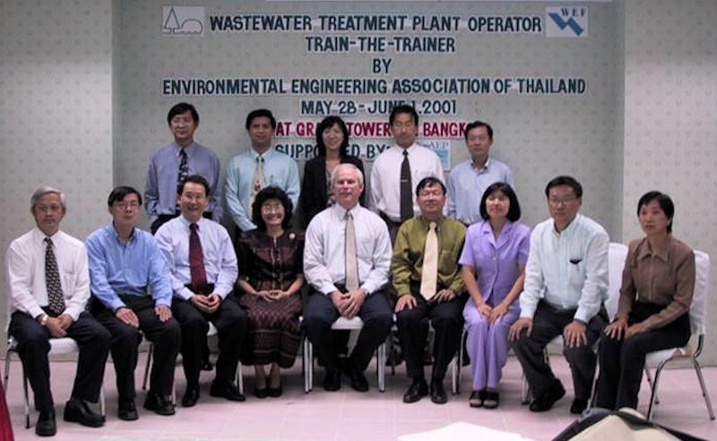 In 2001, Goodman (front row, center) traveled to Bangkok to help provide training for wastewater treatment operators during a workshop organized by the Environmental Engineering Association of Thailand (Bangkok). Photo courtesy of Goodman.