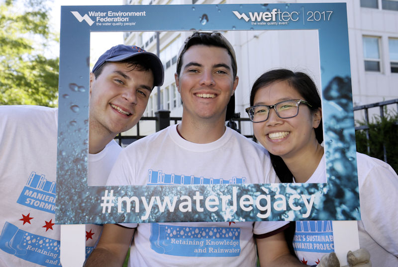 Volunteers at the 2017 Water Environment Federation (WEF; Alexandria, Va.) Service Project join in the #MyWaterLegacy campaign which showcases the legacy that members' leave in the water sector. Photo courtesy of Oscar & Associates.
