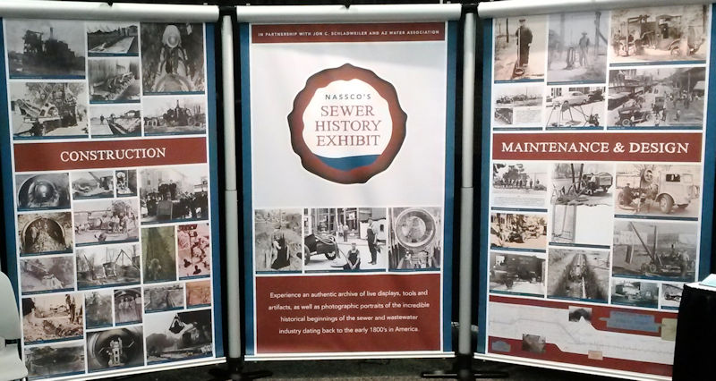 A three-panel display introduces visitors to the Sewer History Exhibit. Photo courtesy of Hofer.