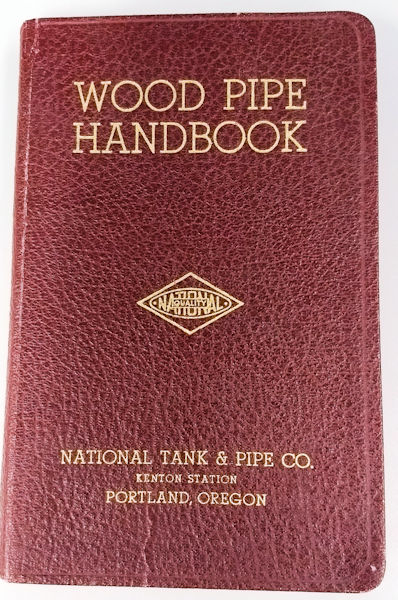 Find a second-edition copy of the Wood Pipe Handbook, in the collection. Photo courtesy of Hofer.