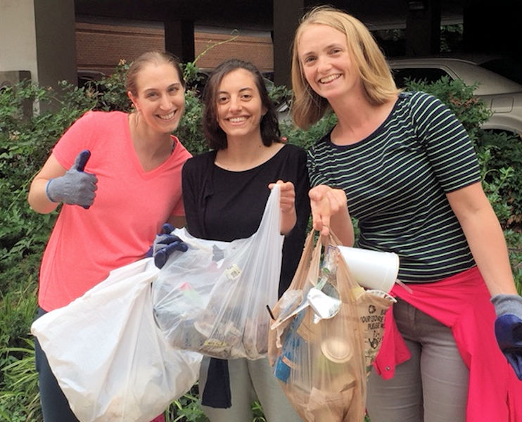 "Water Environment Federation (WEF; Alexandria, Va.) staff, from left, Jessica LaFever, Katherine Saltzman, and Jessica Rozek, collect litter as part of the WEF ""plogging"" event. WEF photo/Rozek."