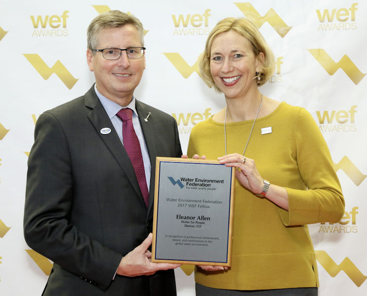 Eleanor Allen receives the 2017 Water Environment Federation (WEF; Alexandria, Va.) Fellow designation plaque from Rick Warner, 2016–2017 WEF President, during WEFTEC 2017. Photo courtesy of Oscar & Associates.