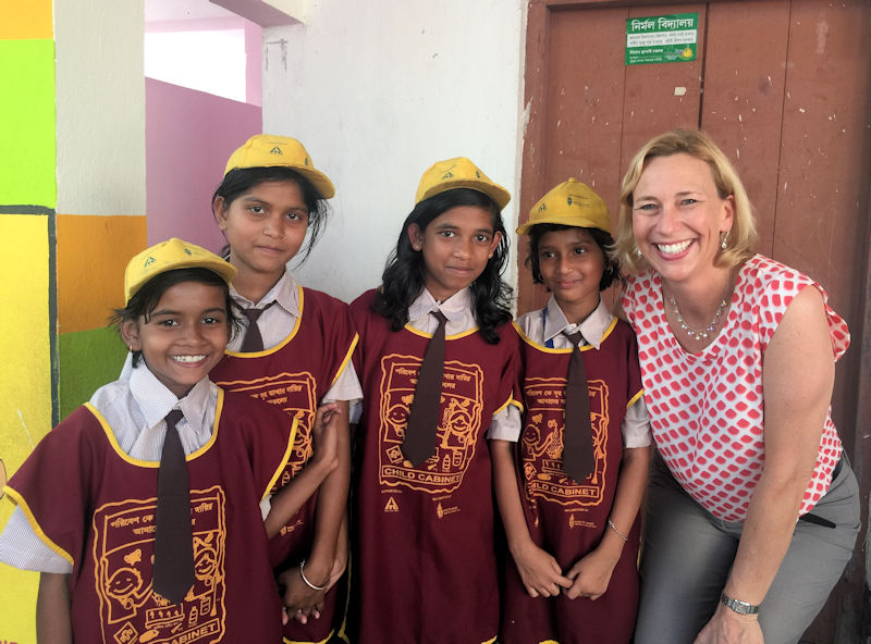 As part of Water for People's (Denver) development work in India, Allen teaches girls about the importance of proper water and sanitation and how learning about water can positively affect their community. Photo courtesy of Water for People.
