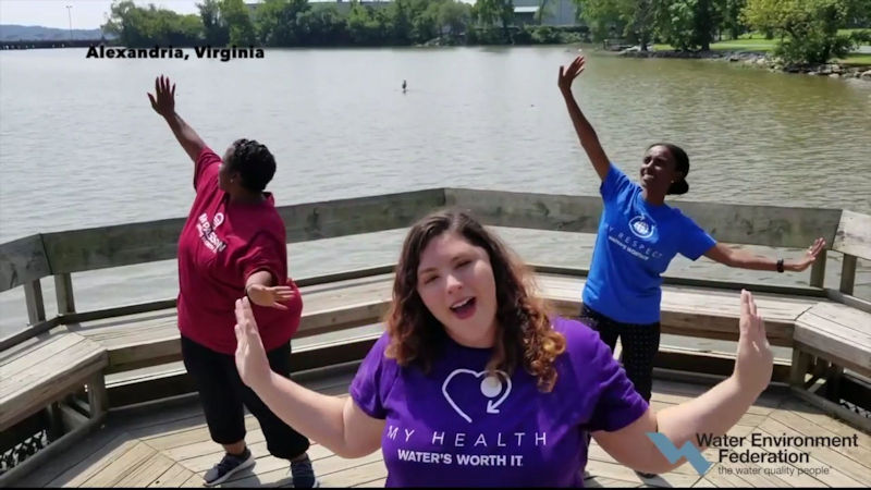 Water Environment Federation (WEF; Alexandria, Va.) staff, from left, Camille Sanders, Jennifer Fulcher, and Ayyaantu Abduselam participate in the One Water #lipsyncchallenge. WEF photo.