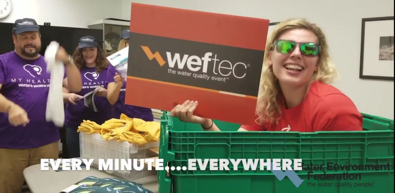 In another scene of the lip-sync challenge video, WEF staff, from left, Scott Wilson, Fulcher, Kelsey Hurst, and Megan Livak, promote WEFTEC. WEF photo.