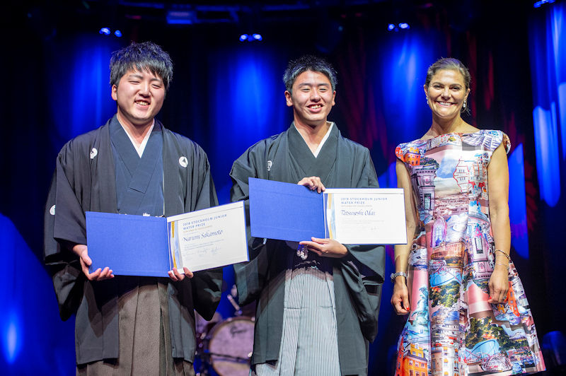 From left, the student team from Japan — Narumi Sakamoto and Tatsuyoshi Odai — receives the Diploma of Excellence from Princess Victoria during the SJWP awards ceremony. Photo courtesy of Jonas Borg, SIWI.