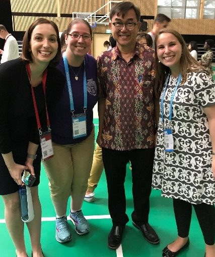 UNLEASH participants meet Jack Sim (third from left), the founder of the World Toilet Organization (Singapore) and World Toilet Day. From left, the WEF participants pictured are Kristen Waksman, Loudon, and Diana Prado. Photo courtesy of Loudon.