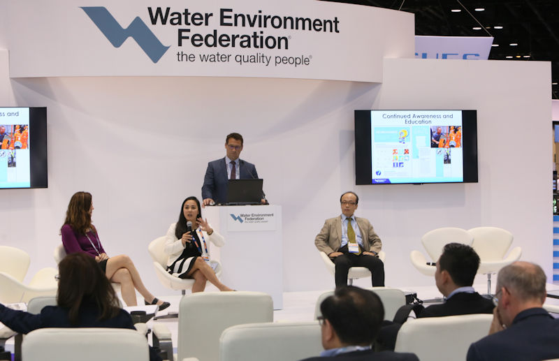 A panel of speakers discuss nondispersibles in wastewater treatment systems in the Global Center during WEFTEC 2017. Photo courtesy of Oscar & Associates.