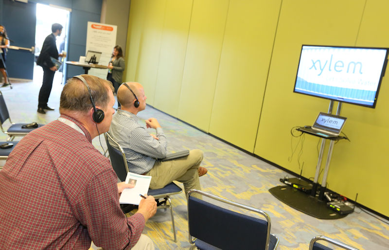 WEFTEC 2017 attendees learn by watching videos during an Interactive Knowledge Exchange session. Photo courtesy of Oscar & Associates.