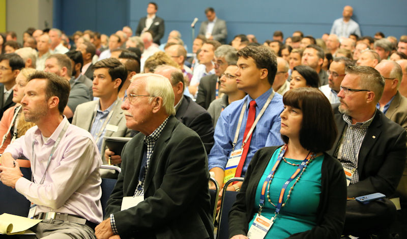 Water professionals of different backgrounds and experience levels attend a technical session at WEFTEC 2017. Photo courtesy of Oscar & Associates.