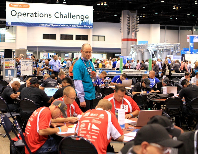 Paul Dombrowski, a 2017 Water Environment Federation (WEF; Alexandria, Va.) Fellow, helps organize and judge the process control event during Operations Challenge at WEFTEC 2017. Photo courtesy of Michael Spring.
