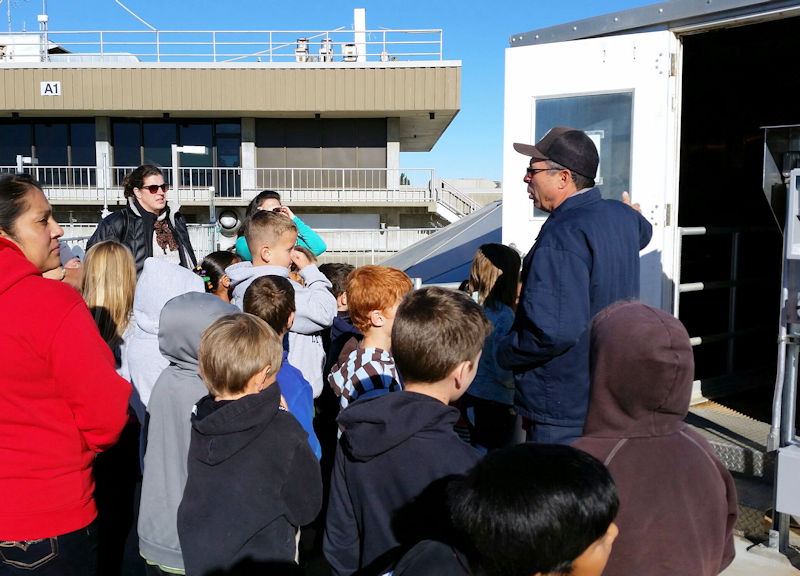 A NapaSan employee educates a tour group about wastewater treatment processes. Photo courtesy of NapaSan.