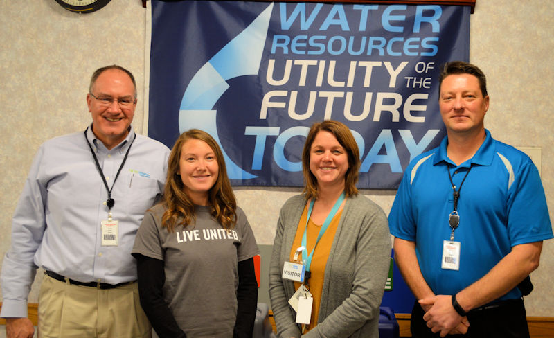 Sigmund (left) attends a meeting to kick off NEW Water's 2017 campaign to support local United Way (Alexandria, Va.) solutions to improve education, financial stability, and health. In 2016, the utility was recognized as a Utility of the Future Today for its efforts to recover and reuse resources as well as improve the surrounding watershed. Photo courtesy of Garrison.