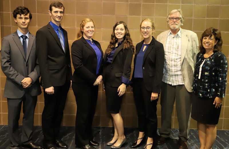 Jade (center) participated in the Water Environment Federation (WEF; Alexandria, Va.) Student Design competition at WEFTEC 2018. Her Utah State University (Logan) team – Todd Keniry, Ben Sandberg, Dominique Bertrand, Avery Holyoak, and Ryan Dupont – stand with 2018–2019 WEF President-Elect Jackie Jarrell. Photo courtesy of Oscar and Associates.