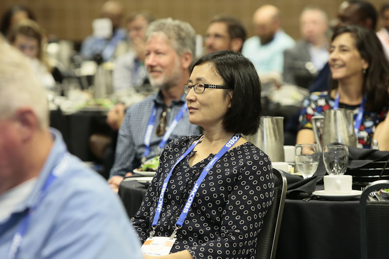 Attendees gather at the WEFTEC 2018 Stormwater Congress Luncheon to hear speakers discuss stormwater solutions and see National Municipal Stormwater and Green Infrastructure Awards presented to recipients. Photo courtesy of Oscar and Associates.