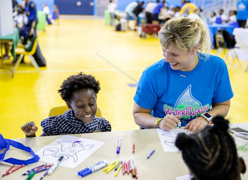 During the Water Palooza, students had an opportunity to color the Water Environment Federation (Alexandria, Va.) mascot, Niles. Photo courtesy of Natalie Keene Photography.