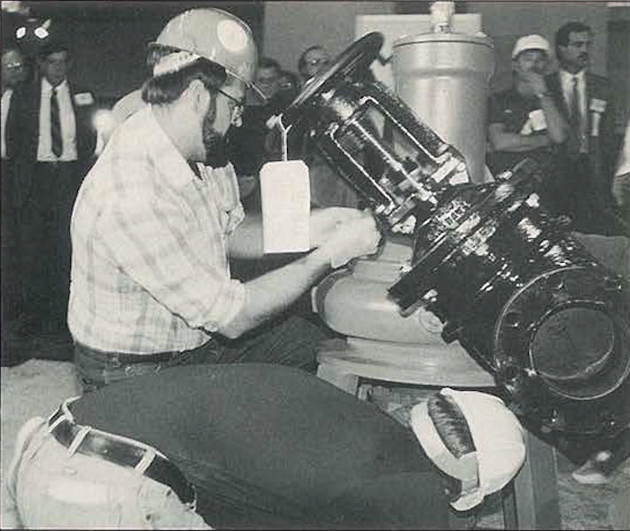 Miller competes in the Maintenance Event at the very first Operations Challenge competition in 1988. Water Environment Federation (Alexandria, Va.) photo.