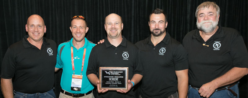 Miller (right) coached the Shovelers team at WEFTEC 2016. In Division 2, the team received second place in the Process Control Event (award pictured) and third place in the Laboratory Event. Photo courtesy of Kieffer Photography.
