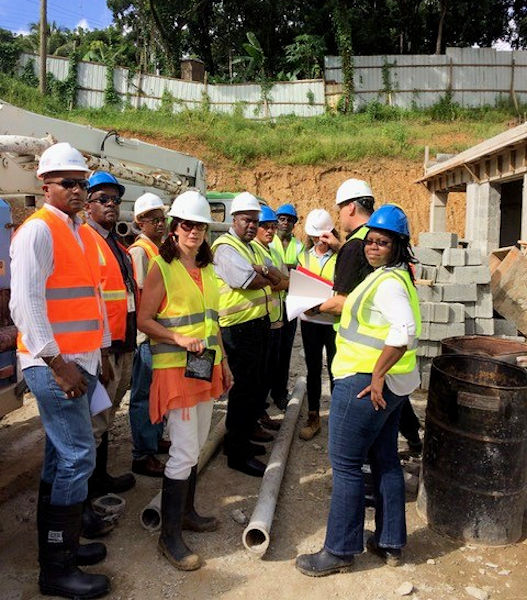 Valerie Jenkinson (fourth from left) participates in a water system capacity building meeting in St. Lucia as CEO of World Water and Wastewater Solutions Ltd. (Vancouver, British Columbia). She started Operators Without Borders to help the water sector in developing countries prepare for and respond to natural disasters. Photo courtesy of Jenkinson.