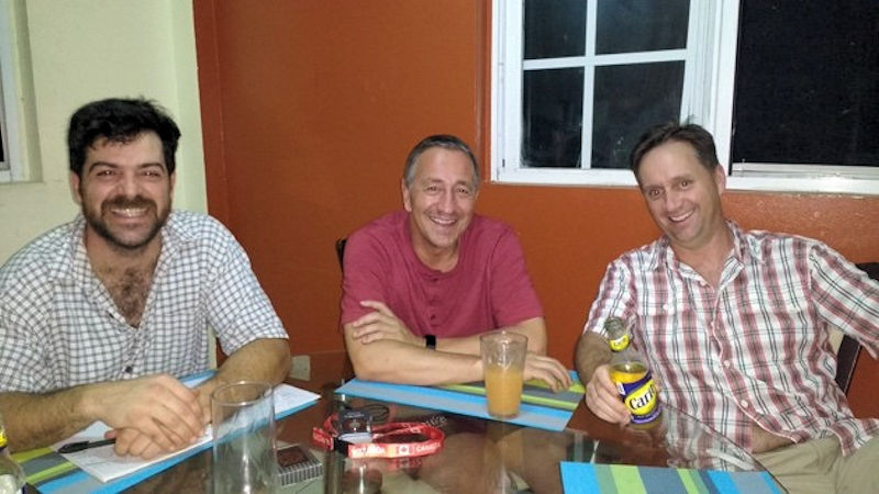 From left, Jason Mank and Marcel Misuraca, members of the OCWA Jets, and Glen Ketchum, another operator from Canada, spent 2 weeks repairing wastewater and water treatment infrastructure in Dominica. Photo courtesy of Misuraca.