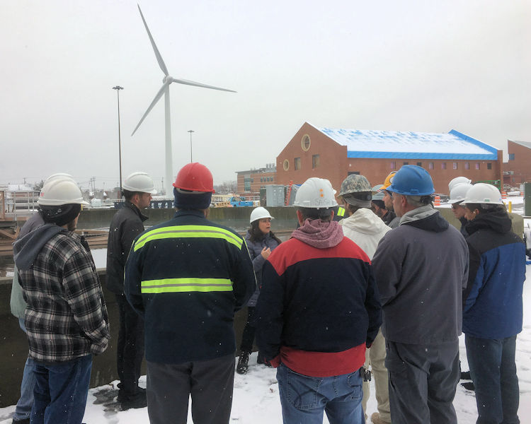 Wastewater professionals tour the Narragansett Bay Commission (Providence, R.I.) Fields Point wastewater treatment facility as part of the Wastewater Operator Leadership Boot Camp. Photo courtesy of Rhode Island Department of Environmental Management (RIDEM).