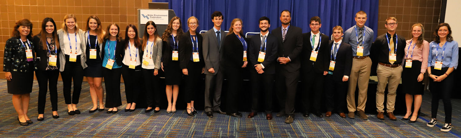 Jackie Jarrell (left), Water Environment Federation (Alexandria, Va.) 2018-2019 president-elect, stands with the Student Design competition wastewater category winners. Photo courtesy of Pono Hanson.