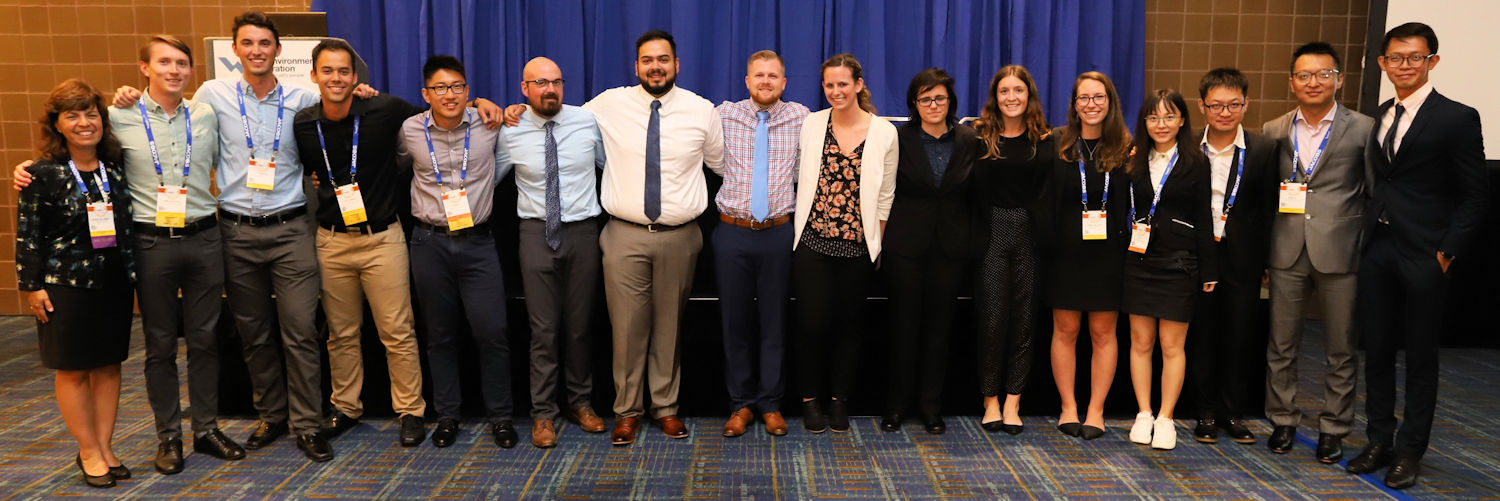 Jarrell (left) stands with the 2018 Student Design competition environmental category winners. Photo courtesy of Hanson.