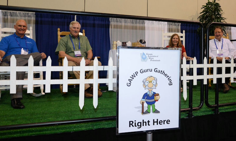"During the association's annual conference, the ""guru porch"" offers a special area for committee members to sit on rocking chairs set on a fake lawn while enjoying conversation with welcome guests. Photo courtesy of the Georgia Association of Water Professionals."